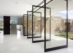 Populares de aluminio forjado Nube de pivote de rotación con cuatro bisagra de puerta de vidrio