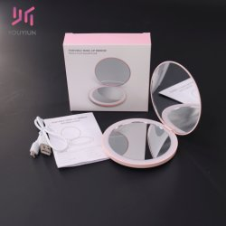 Mini specchio cosmetico tenuto in mano del compatto dello specchio di trucco dello specchio LED dello specchio di ingrandimento 2X