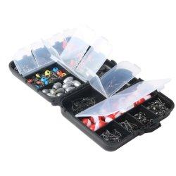 Commerce de gros crochets 255terminal PCS pivotant cordon de plombs de pêche de flottement de la SNAP Tackle Box Set