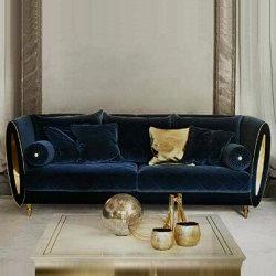 Il tessuto di lusso ha imbottito il sofà di Argyle per lo specchio Armside del metallo dello strato dell'ammortizzatore del velluto degli insiemi della mobilia della casa del salone