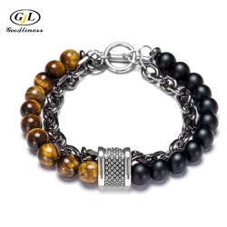 Natürliche Einzigartige Steine Männer Perlen Armband Eisen Kette Perlen Mode Armreifen
