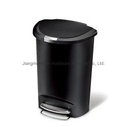Scomparto di rifiuti di plastica di immondizia da 30 litri della latta dello scomparto di plastica Semi-Rotondo nero del pedale