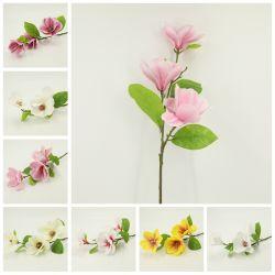 Toque Real de flores de plástico artificial Magnolia Pulverizar Decoração Dy41009
