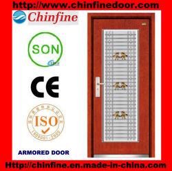 Steel-Wood porta blindada com janela de Aço Inoxidável (CF-M044)