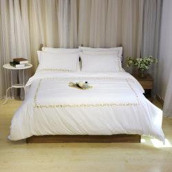 Edredón bordado de algodón con Shams y conjunto de hojas con fundas de almohada