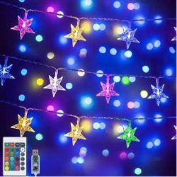 زينة عيد الميلاد لون تغيير ضوء نجم خيط ، 16.4 قدم 50 LED ضوء النجوم مشغلة أضواء جنية ، الداخلية معلقة خيط أضواء مع تحكم عن بعد للفتيات