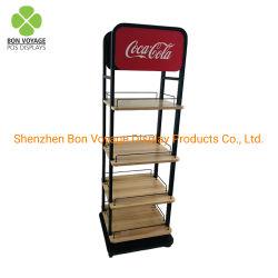Supermarché 4-Tier POS plancher métallique étagère en bois boisson cola de présentoir
