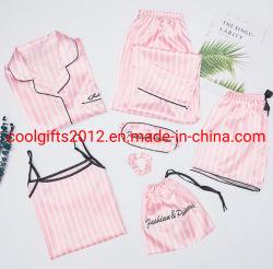 Neue Satin-Pyjamas des Blumen-Drucken-7PCS/Set für Frauen-Mädchen-netter Silk Satingesetzte Silk Nighty-Abnützung