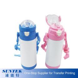 Sublimação de Aço Inoxidável Crianças Sports Garrafas de água com o tirante e palha 350ml