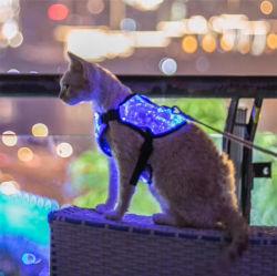 LED는 개 하네스 고양이 조정가능한 조끼 하네스 섬유 광학적인 빛을내는 애완 동물 옷, 7개의 연한 색을 불이 켜진다
