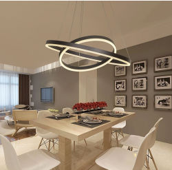 Lustre moderne noir 4-Light/5-Lampe à LED Collection pendentif cristal Luminaire réglable