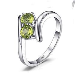 925 Sterling anel de prata para as mulheres belas jóias de moda com Peridot Gemstone criado