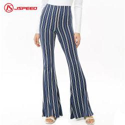 preço de fábrica com listra Personalizado Imprimir cintura elástica mulheres Flare Pants
