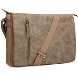 Ноутбук Сумка почтальона 16,5 дюйма Vintage Canvas водонепроницаемая PU кожа большой Crossbody сумки через плечо сумок для ноутбуков для бизнеса
