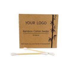 Customized 100PCS Auriculares de bambu de algodão Q-Zaragatoas Dicas