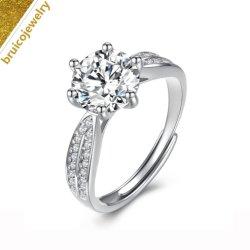 Мода 925 Silver женщин участие один камень палец кольцо с алмазной для свадьбы