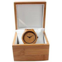 Boîtes de rangement personnalisé pas cher Hommes Montres bracelet de gros de luxe à charnière unique Boîte en bois de Bambou Custom Watch