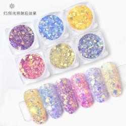 6 colores de la luz de la cebolla en polvo de uñas Nail magia colorida lentejuelas brilla con un gran pequeño paquete de mezcla de diferentes tamaños