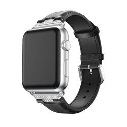Regarder la bande de cuir de luxe Apple Rhinestone Crystal Bracelet Cuir Diamant pour Apple de regarder la série 1 2 3