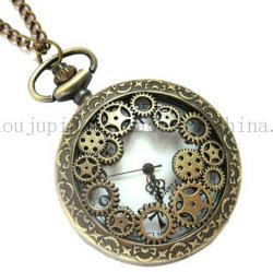 OEM Metal Classical Quartz Pocket Watch with Gears