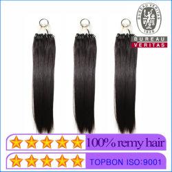 De color negro de 18 pulgadas 100g de Cabello Cabello Virgen fácil tirar Anillo Bucle de Micro Hair Extension de Cabello Remy