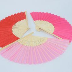 preço de fábrica de artesanato em madeira artesanal do Ventilador de dobragem de bambu logotipo personalizado do ventilador do lado do papel para venda