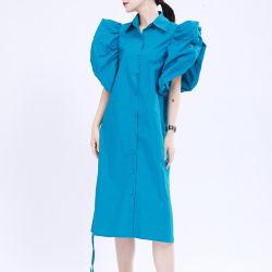 بنت فصل صيف أكبر من المعتاد وزرة فقاعات كم هدب [لس-وب] يثنى سائبة قميص ثوب