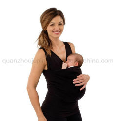 Algodão OEM vestido roupa de maternidade sem mangas de camisa T com bolsa de bebé