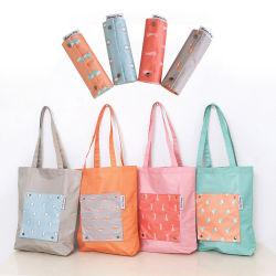 ポリエステルショッピング・バッグ、卸売はナイロン携帯用Foldable洗濯できる耐久の再使用可能で環境に優しいギフトの袋の衣服の記憶の包装のトートバックを印刷した