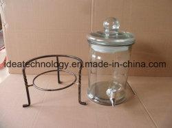 Commerce de gros 10L de jus de bouteille de stockage de verre avec couvercle en verre et de support de base