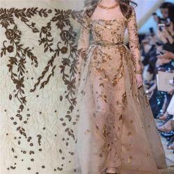 Los nuevos diseños de bordados de moda de tela de encaje Bling Bling para vestido de novia