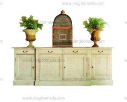 Mobiliario clásico nórdico antiguo de madera maciza de color blanco crema de cuatro puertas laterales de cuatro cajones Buffet