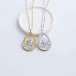Mode Edelstahl Schmuck Wassertropfenhänger Diamond Damen Halskette