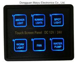 6 pista LED azul tela de toque capacitivo na caixa do Painel de Interruptores de Controle
