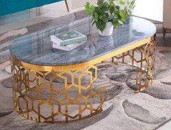 현대 호텔 테이블 유럽식 금속 프레임 Tempered 타원형 유리제 중심 커피용 탁자