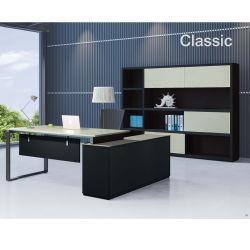 Bureau Exécutif moderne couleur bois Coin bureau PDG Forme de l'ordinateur de bureau Table