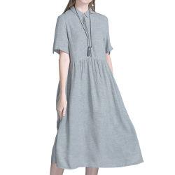 2020 Herbst-neuer Entwurfs-literarisches süsses kurzes Hülsen-Leinenkleid für Frauen