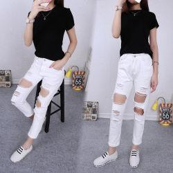 2018 Fashion повседневный живущим в белых джинсах женщин летом Ripped сломанных отверстие неплотно Hemming обрезанной наклон джинсы брюки женщине одежду джинсовые брюки из хлопка