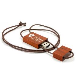 Unidade Flash USB de madeira USB 2.0 com alça para promoção