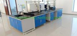 실험실 가구 공급자 C 프레임 강철 목재 실험실 워크스테이션 20 발 길이 중앙 검사실 테이블