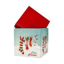 正方形の形のクリスマスのデザインによってカスタマイズされる段ボール紙ボックス