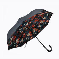 長いハンドルが付いている熱い販売の花の二重層の逆の傘