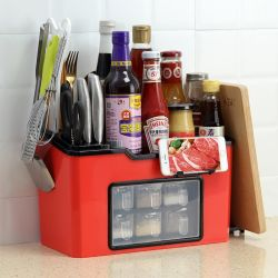 Cozinha multifuncional Spice Rack de armazenamento de plástico/prateleira de especiarias
