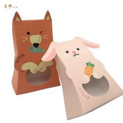 El conejo y zorro mano cartón plegado de papel Caja de caramelos de Halloween Navidad
