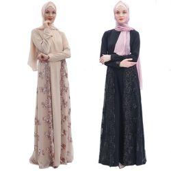 2019 고품질 시퐁 구슬로 만드는 Abaya 이슬람교 입는 Manik 레이스 Abaya 두바이