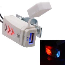 Motociclo USB Mobile carregador de telemóvel com o interruptor / Azul Brilhante luz indicadora