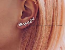 Jóias de orelha de Flores brincos de manguito 925 Libra Esterlina jóias de Fractius
