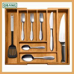 Expansível Utensílio de bambu talheres bandeja com 6 a 8 seções 2 Peças amovíveis para aplicar Cozinha Organizador de Gaveta