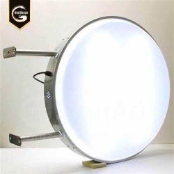Affichage publicitaire signalisation Illminated châssis métallique ronde acrylique Boîte à lumière