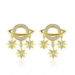Jóias de Ouro de atraente 925 Interestelar Sterling Silver CZ Brincos
